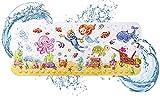FINEW Kinder rutschfeste Badewannenmatte, Extra Lange Antirutschmatte mit Saugnapf, Ablauflöcher, Badematten für Kinder und Baby, Cartoon Badewanneneinlage Babyparty Matte - 40x100 cm