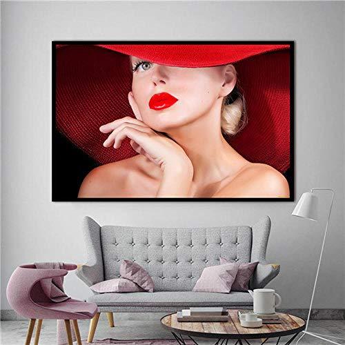Kiss the fashion girl's rode lippen canvas poster schilderij abstracte muurschildering print moderne huis woonkamer decoratie ingelijste frameloze 50X75CM