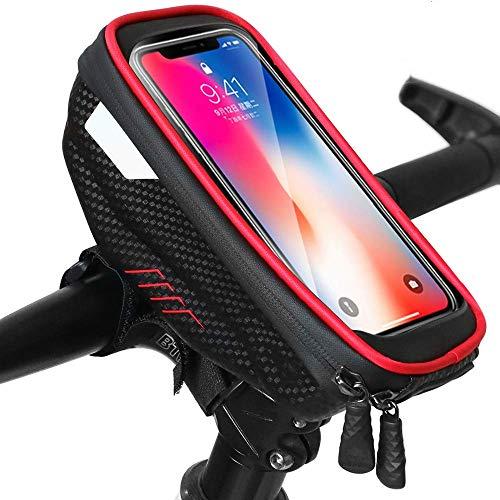 Bolsa Bicicleta - Cuadro Impermeable Bolso Manillar Bici Con Pantalla Táctil Sensible, Marco Tubo Funda Movil Bicicleta para iPhone X/XS Max/XR/8/8 Plus/Samsung S9/S8 Telefono 6,5 Pulgadas (2)
