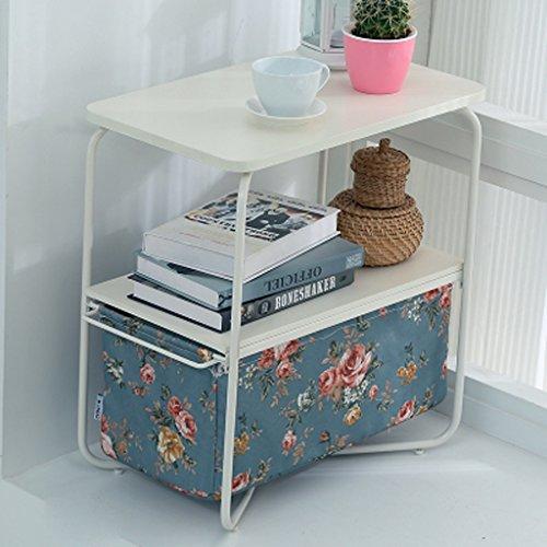 MEILING Moderne Simple Creative mobile Petite table basse simple Double Carré Bleu fleurs Mini salon canapé Côté quelques armoires Coin quelques Table d'appoint