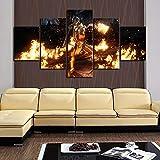 wanmeidp Poster su Tela Decorazione Domestica Moderna 5 Pezzi Mortal Kombat Pinta Pittura Arte della Parete Immagine modulare Camera da Letto Sfondo Artwork-Frame-L-30x40 30x60 30x80cm