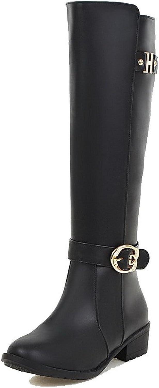 AllhqFashion Women's PU High-top Solid Zipper Low-Heels Boots