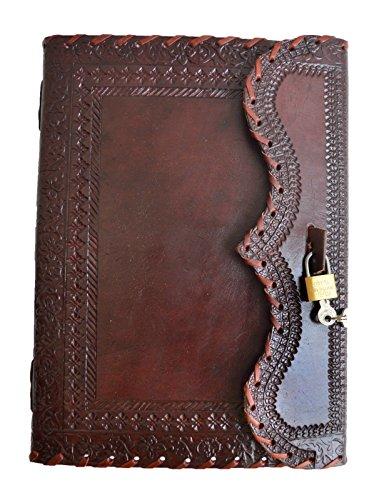 Jaald 25 cm Bloc-notes Carnet Cahier Feuilles Leather journal Intime avec Couverture en Cuir Fait à la Main Verrouiller Cadenas - Marron