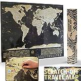 Deluxe rascar viajes Mapa - Póster con banderas de país y el mundo de 50 Más visitado atracciones turísticas, seguimiento de tus aventuras (negro y dorado con plata montañas - 33 'X 23)