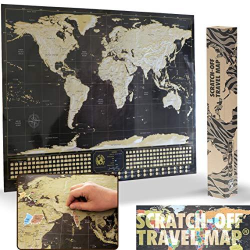 Deluxe rascar viajes Mapa - Póster con banderas de país y el mundo de 50 Más visitado atracciones turísticas, seguimiento de tus aventuras (negro y dorado con plata montañas - 33X 23)