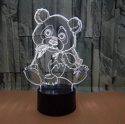 Nuevo Panda 3D Luz De Noche Luz Visual Colorida Lámpara Táctil Mesa De Regalo Creativa Accesorios De Iluminación 3D