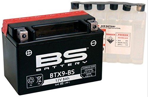 Xfight-Parts Batterie BTX9-BS 12V 8Ah 0,45 Liter DIN 50812 MTF Wartungsfrei 150x106x85mm 5403779 für Kreidler Insignio 125 DD