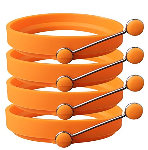 Newthinking Premium Silicone Egg Ring/Pancake Mold. Non Stick Frying Pancake Moulds Silicone Cooking Rings Round with Handle Pack of 4 (Orange)