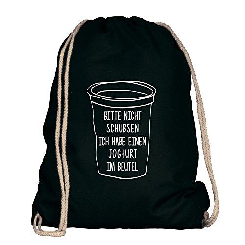 Shirtdepartment® Turnbeutel/Sportbeutel mit vielen Sprüchen | Farbe: Schwarz-Weiss - Nicht schubsen, ich Habe einen Joghurt im Beutel | Jutebeutel | Rucksack | Gymsack | Lustige Motive | Spruch