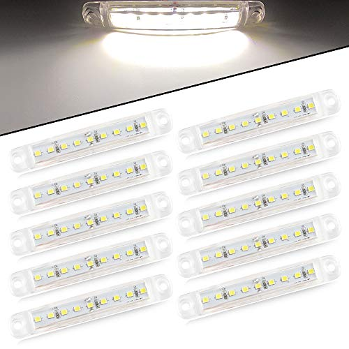 Yifengshun 10pcs 9 luci di posizione laterali a LED luci di posizione anteriori e posteriori 12V per luce di posizione per camper camper van RV (bianco)