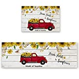 2 Piece Kitchen Mat Set , Red Pickup Truck Full of Sunflowers on the Retro Wood Board Soft Non-Slip Rubber Backing Floor Mats Doormat Bathroom Runner Area Rug Carpet, 15.7x23.6in + 15.7x47.2in