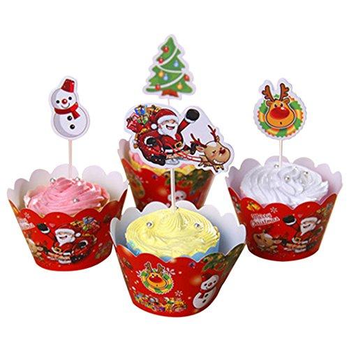 Confezioni Di Cupcake Di Natale, Outgeek 12 Pz Albero Di Natale Santa Snowman Pattern Cupcake Wrappers Con 12Pcs Cupcake Toppers