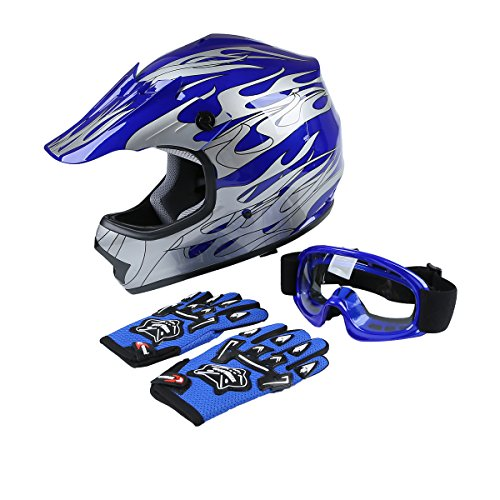 TCT-MT Helmet+Goggles+Gloves DOT Youth Kids Helmet Blue Flame Dirt Bike ATV MX Motocross Helmet X-Large