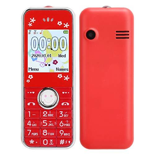 Annadue Mini teléfono móvil Bluetooth para niños y Ancianos, 32 MB + 32 MB Tarjetas Dobles de 1,44 Pulgadas Teléfono móvil de Doble Modo de Espera, con Funda Protectora, fácil de Llevar.(Rojo)