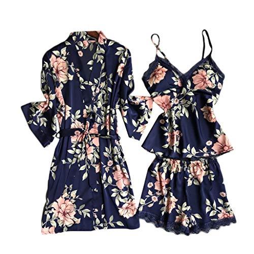 Alwayswin Damen 5PC Sexy Lace Satin Robe Bademantel Hose Shorts Dessous Set Schlafanzug Nachtwäsche Pyjama aus Spitze mit Seidendruck Sleepwear Nachtwäsche
