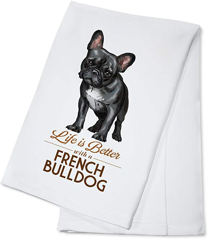 French Bulldog Black Life Is Better White Background 100 Cotton Kitchen Towel