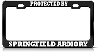 Speedy Pros Protected by Springfield Armory Black Metal License Plate Frame Tag Holder