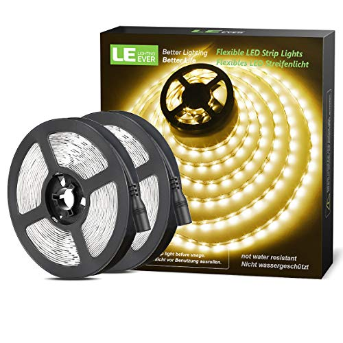 LE 12V LED Strip Light, Flexible, SMD 2835, 300 LEDs, 16.4ft Tape Light for Home, Kitchen, Party, Christmas and More, Non-Waterproof, Warm White, Pack of 2(Not Include Power Adapter)