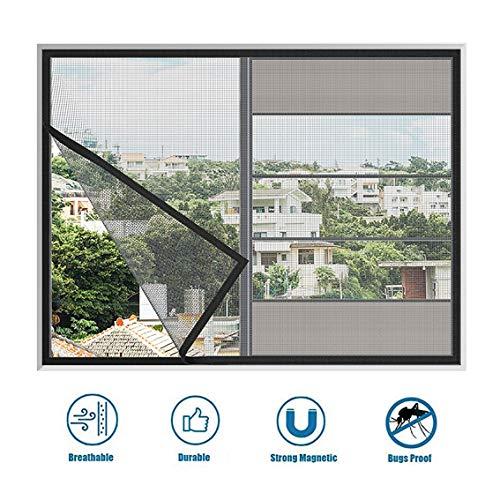 Alsgon raam-muggennet met magneetbevestiging, doorzichtig glasvezelweefsel, zwart of grijs, insectenwerend gaas voor ramen en deuren