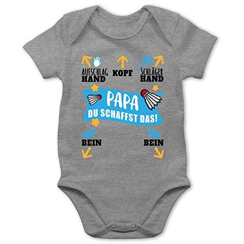 Sport Baby - Papa - Du schaffst das! - schwarz/blau - 6/12 Monate - Grau meliert - Papa du schaffst das - BZ10 - Baby Body Kurzarm für Jungen und Mädchen