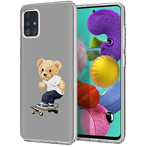 TalkingCase TPU Phone Case for Samsung Galaxy A51 5G, Thrasher Teddy Bear Print, Light Weight,Flexible,Soft Touch Cover,Anti-Scratch,Designed in USA