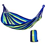 Hammock Sky Brazilian Double Hammock Two Person Bed for Backyard, Porch, Outdoor and Indoor Use - Soft Woven Cotton Fabric (Blue & Green Stripes)