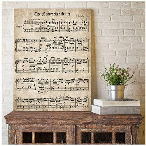 De Notenkraker Vintage Blad Muziek Poster en Print Tchaikovsky Klassieke Piano Muziek Canvas Schilderij Wandbeeld Home Decor-60x80cm-Geen Frame