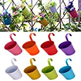 Frofine Lot de 8 Pots de Fleur en Métal Suspendu,Crochet Movible en Métal sans Trou...