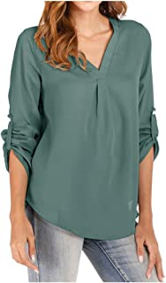Women Solid V-neck Long Sleeve T-shirt ❀ Ladies 3/4 Sleeve Blouse Tops Office Work Tee Shirt Loose Tunic Tops
