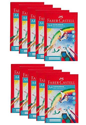Faber-Castell 212046-10 Zeichenblock DIN A4, FSC-Mix, perforiert, 20 Blatt, 10 Blöcke