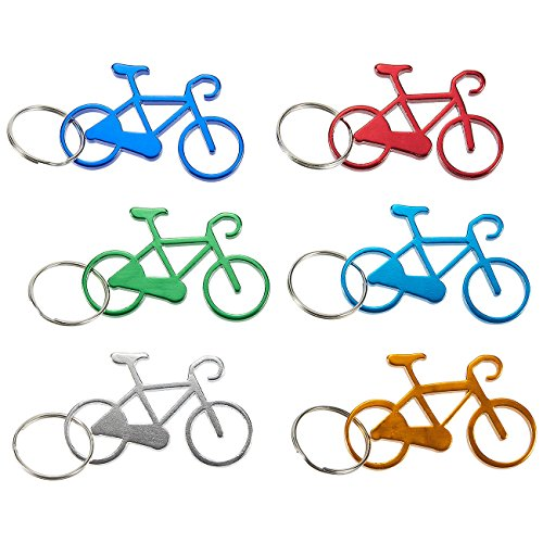 Juvale Keychain Bottle Opener - 12-Pack Bicycle Bike Portable Beer Bottle Metal Openers for Wedding Party Favor in 6 Colors