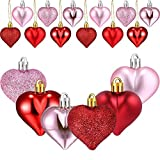 INNKER 48PCS Valentine's Day Heart Shaped Ornament Red Pink Glitter Valentine Heart Shaped Baubles Romantic Hanging Decorations for Valentine's Day Wedding DIY Craft Matte, Glitter, Sequined