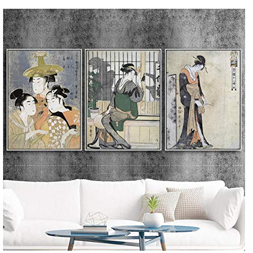 GIRDSS Japanische Künstler dekorative MalereiJapanische Ukiyo-E Dame Porträt Altertum Wohnkultur Wandkunst-40X50cmx3 ohne Rahmen
