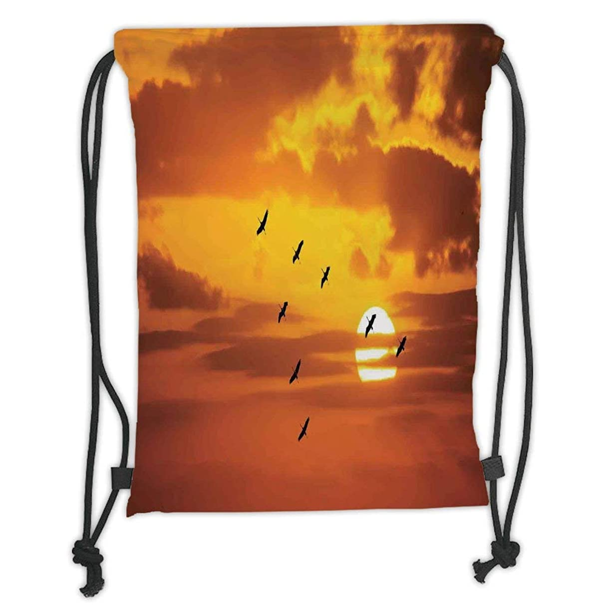 New Fashion Gym Drawstring Backpacks Bags,Birds,V Shaped Formation Flying in Cloudy Sky with a Shining Sun at Sunset Cloudscape Print,Orange Soft Satin,Adjustable String Closure,T