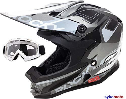 color verde Casco de moto para ni/ños aprobado por la ECE VIPER-3GO X10-K OFF ROAD ENDURO ATV casco de bicicleta con gafas