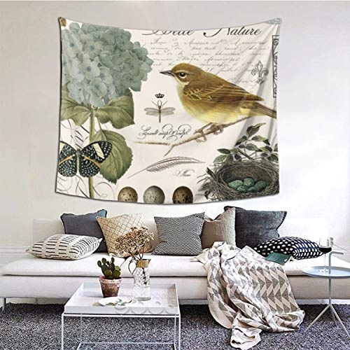 Modern Vintage French Bird And Nest Tapestry,51x60 Inches Wall Tapestry, Tapestry Wall Hanging for Living Room Bedroom Window Curtain Picnic Mat