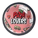 YATELI Pizza Lover Heart Champiñones Salchicha Rosa Perillas de extracción de para gabinetes, armarios, Puertas y cajones de Muebles: se Venden como un Paquete de 4 perillas