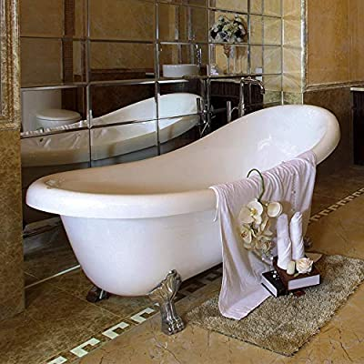 "WOODBRIDGE Slipper Clawfoot Bathtub with Solid Brass Polished Chrome Finish Drain and Overflow, B-0040/BTA1540, 59"""" B-0040"