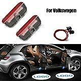 Acptxvh Luces vehículo Bienvenido Auto Luz Puerta de la Insignia llevó el proyector para Volkswagen Accesorios Coche Sombra del Fantasma Bienvenido Luces para VW Passat B6 B7 Golf 7,Rojo