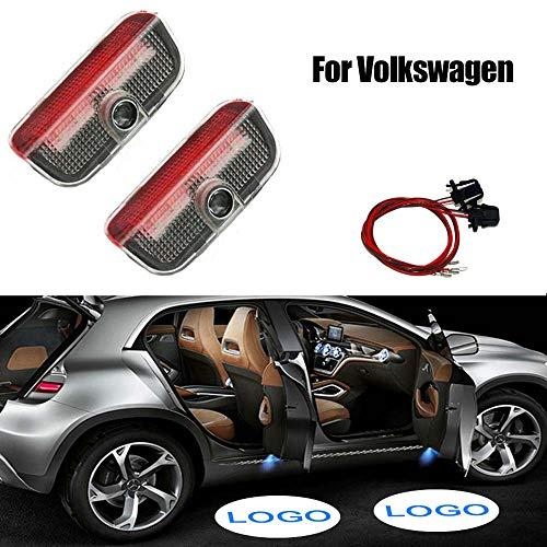 Acptxvh Auto-Willkommens-Lichter Auto-Tür-Licht Led Logo-Projektor für Volkswagen Autozubehör-Geist-Schatten Willkommen Licht für VW Passat B6 B7 Golf 7,Rot