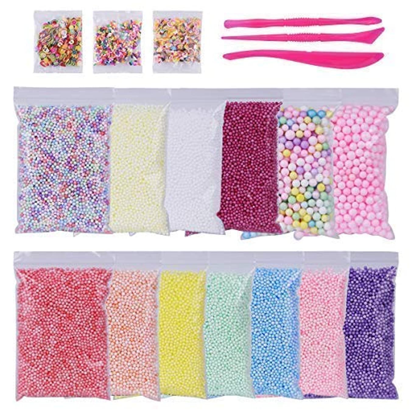 Cuttte Foam Balls for DIY Slime, 16 Packs Approx 94,800 PCS Slime Floam Beads, Slime Supplies Kits Including Fruit, Cupcake and Candy Slices for Slime Making, Arts Crafts