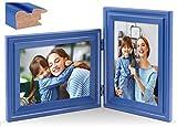 JD Concept Portafoto Verticale Orizzontale, Doppia Cornice Pieghevole in Legno 13x18 cm, da Tavolo o da Parete, Pannello in Vetro, Blu
