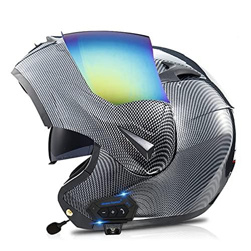 ZHANGYUEFEIFZ Modular Casco Moto Bluetooth ECE Homologado Casco de Moto Integral para Mujer Hombre Adultos con Anti Niebla Doble Visera Casco Integrado con 500mA Auriculares Bluetooth