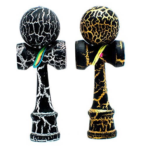 KENDAMA TOY CO. 2-Pack The Best Pocket Kendama (not Full Size) - Fancy Colors: Black/Silver & Black/Gold - Solid Wood - A Tool to Create Better Hand and Eye Coordination