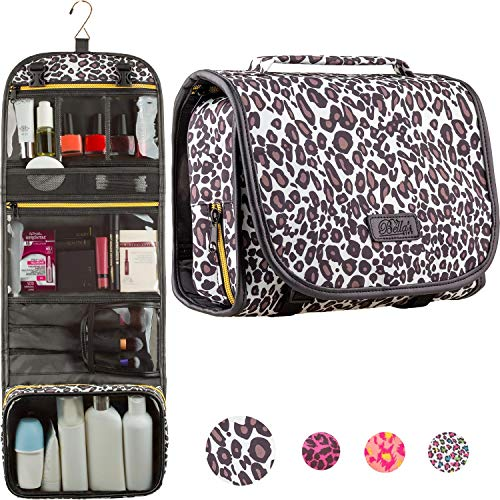 Hanging Toiletry Bag - TSA Approved Travel Kit for Women - Flat Makeup Case - Compact Cosmetic Essentials Pouch - Waterproof Organizer with Sturdy Hook - Dopp with... (Brown+Black)