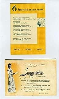 Mount Royal Hotel Montreal Quebec Tent Cards Graphologist & Restaurants 1950's