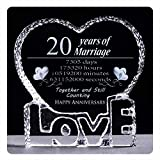 YWHL 20 Year 20th Wedding Anniversary Crystal Sculpture Keepsake Gifts for Her Wife Girlfriend Him Husband (20 year)