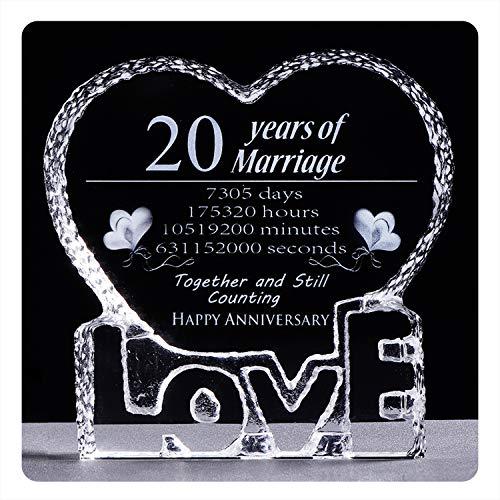 YWHL 20 Year 20th Wedding Anniversary Crystal Sculpture Keepsake Gifts for Her Wife Girlfriend Him Husband (20 Year)