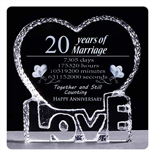 YWHL 20 Year 20th Wedding Anniversary Crystal Sculpture Keepsake Gifts...