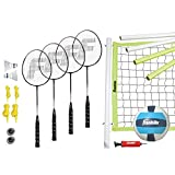 Franklin Sports Volleyball and Badminton Combo Set - Portable Volleyball and Badminton Net with Ball, Racquets and Birdies - All Inclusive Set